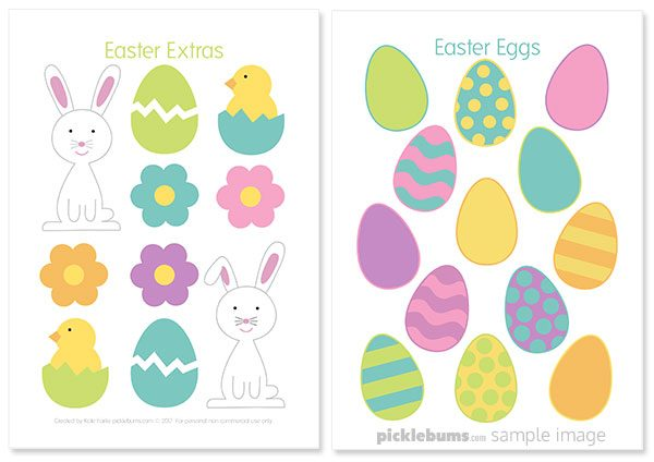 Sample images of Easter play dough printable accessories