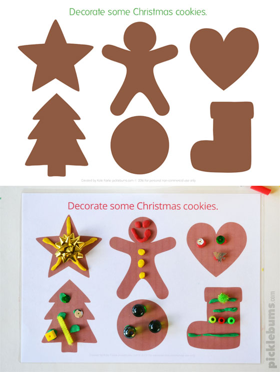 Christmas play dough mats - 6 fun designs