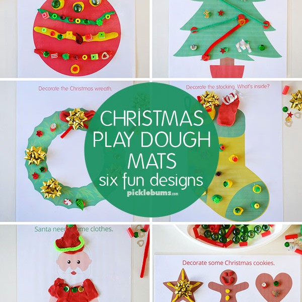 Christmas play dough mats – 6 fun designs