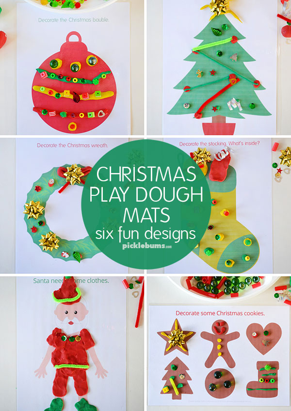 Christmas play dough mats - 6 fun designs