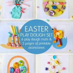 Easter play dough set - 6 play dough mats