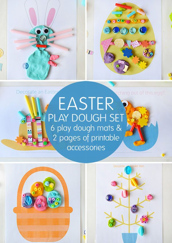 Easter play dough set - 6 play dough mats