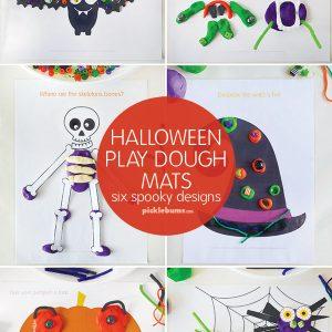 Halloween play dough mats - 6 spooky designs
