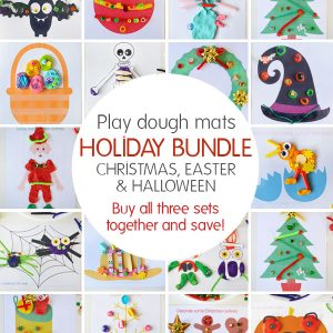 Play dough mats - Holiday Bundle. Buy all three sets - Christmas, Easter and Halloween together and save.