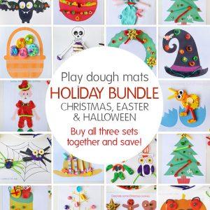 Play dough mats - Holiday Bundle. Buy all three sets - Christmas, Easter and Halloween together and save.