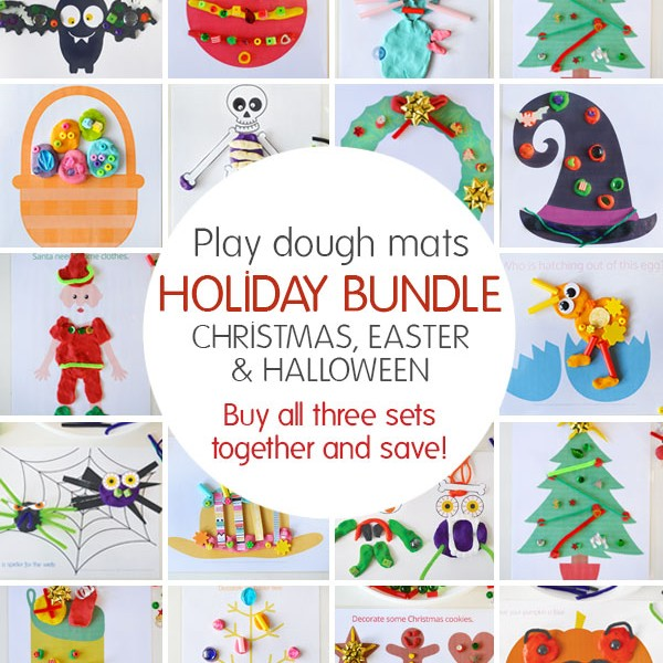 Play dough mats – Holiday Bundle. Buy all three sets – Christmas, Easter and Halloween together and save.