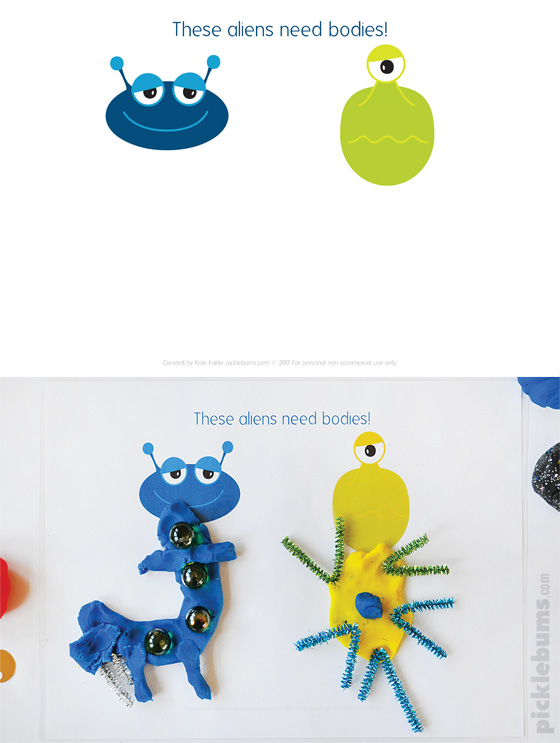 Space Play Dough Set - 6 play dough mats and 2 pages of printable accessories
